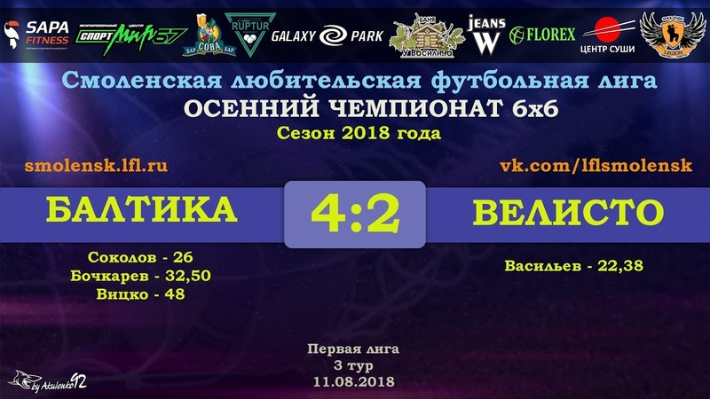 СЛФЛ Осенний сезон 6х6 2018 БАЛТИКА ВЕЛИСТО 4 2 обзор матча смотреть онлайн без регистрации