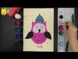Как нарисовать сову которая вылетела погулять. Урок рисования для детей от 4 лет