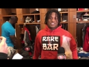 Reuben Foster and his big bag of Cinnamon Toast Crunch cereal