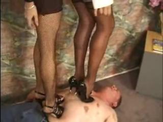 Two girls hard trampling 2