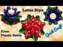 How to make Lotus Diya Candle Stand from Plastic Bottle Diwali Christmas home decor