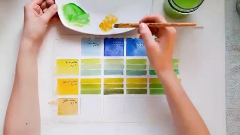 как смешивать цвета, получаем 36 оттенков зеленого