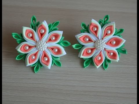 Многослойный цветок канзаши/Multilayer kanzashi flower