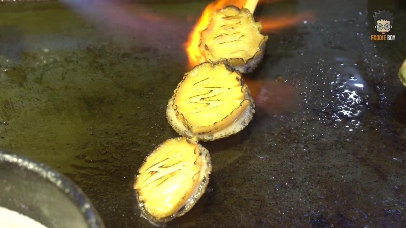 Grilled Abalones with Butter Korean Street Food Myeong Dong Seoul Korea