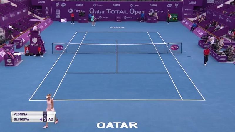 WTA Doha R1 2018 Vesnina vs Blinkova