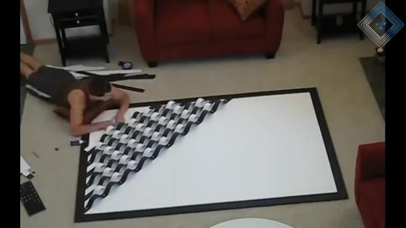 صورة ثلاثية الابعاد للجدار - عمل يدوي - 3D WALL ILLUSION.mp4