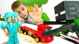 Тестируем машину Майнкрафт! Стив против Эндермена! Видео для мальчиков.