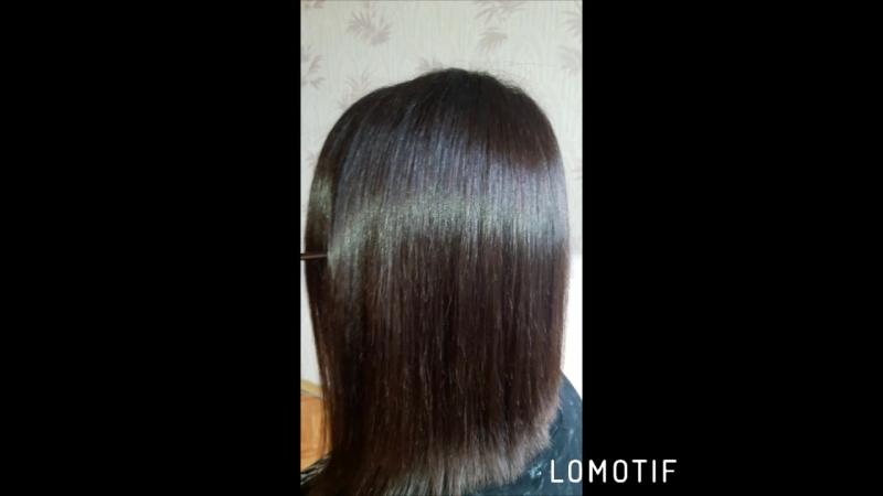 Кератин. Волосы после мытья, высушены феном без укладки.