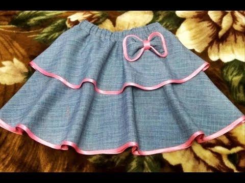 Шьем двухслойную юбку-полусолнце на девочку