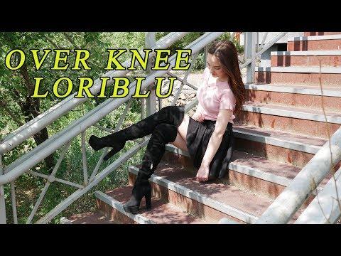 Russian girl walks in luxury platform high-heels over knee Loriblu boots Size 38