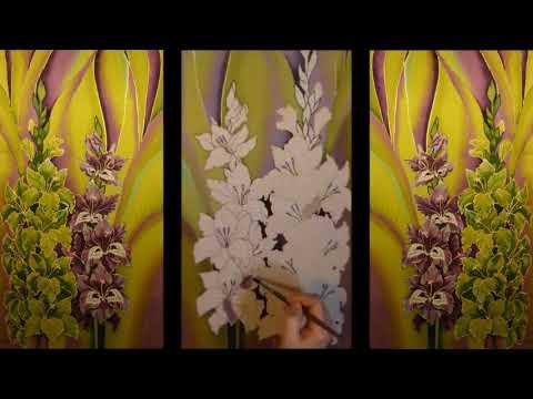 Silk painting Cladioli. Батик Гладиолусы