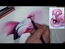 Урок рисования цветными карандашами Как рисовать ФЛАМИНГО