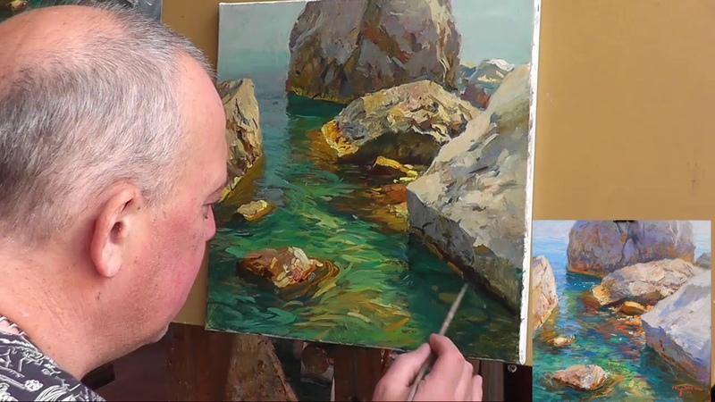 Мастер класс морской пейзаж прозрачная вода часть 2