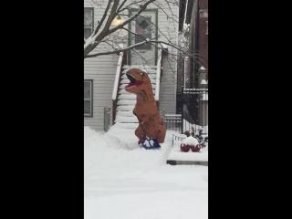 T Rex Shovelling Snow __ ViralHog