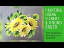 Daisy 🌼 painting using Round and Filbert brush Detailed video Folk art paints step by step