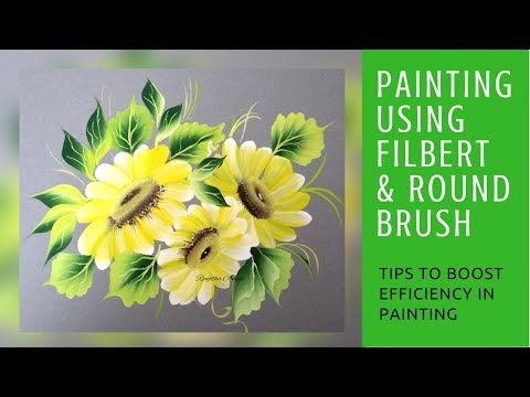 Daisy 🌼 painting using Round and Filbert brush | Detailed video - Folk art paints| step by step