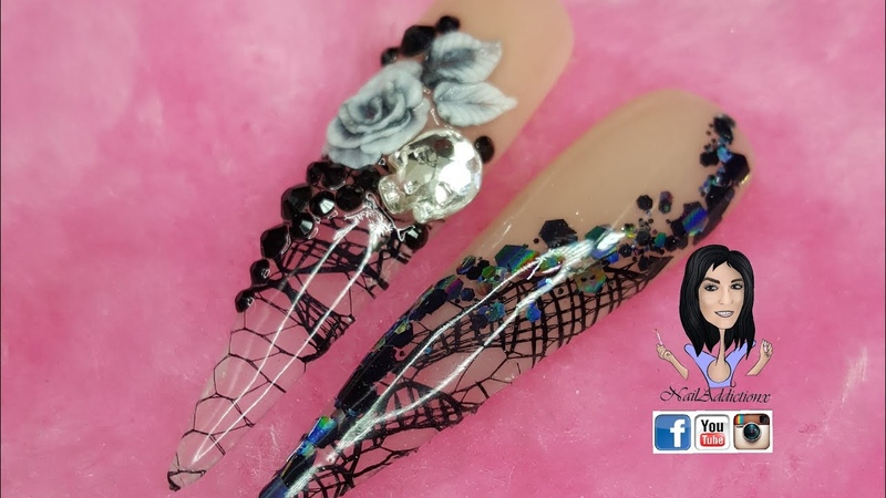 3D rose / Lace / encapsulated/ Acrylic / skull Crystals