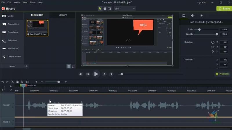 Редактирование аудио-записи в Camtasia Studio 9