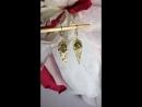 Серьги Павлинье золото с бронзовым лабрадоритом