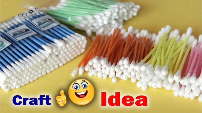 Genius Craft Idea Using Cotton Buds | Wall Frame Making Using Waste Material | waste mathi best easy