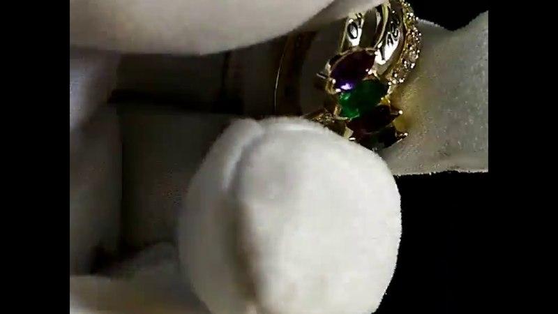 Золотое кольцо с камнями: топаз, рубин, изумруд, аметист, именами детей и гравировкой от мужа жене