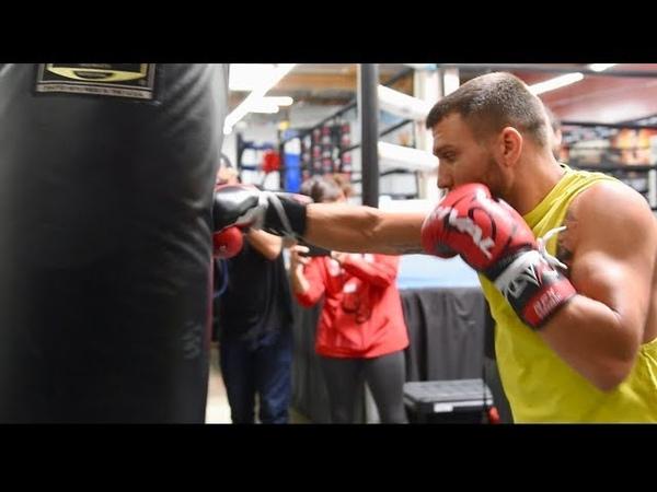 Vasyl Lomachenko bone crushing heavy bag smash with ease for Jose Sniper Pedraza
