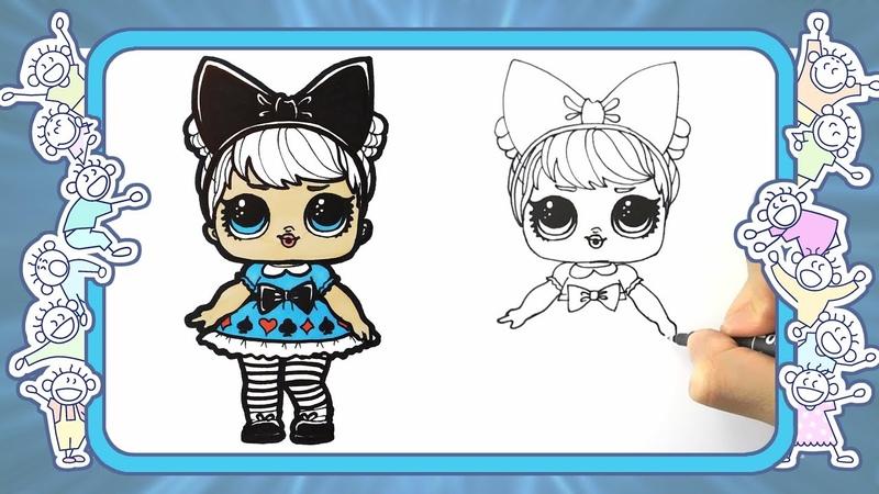 Как нарисовать куклу Мисс Алиса . Веселые раскраски. видео для детей. lol dolls