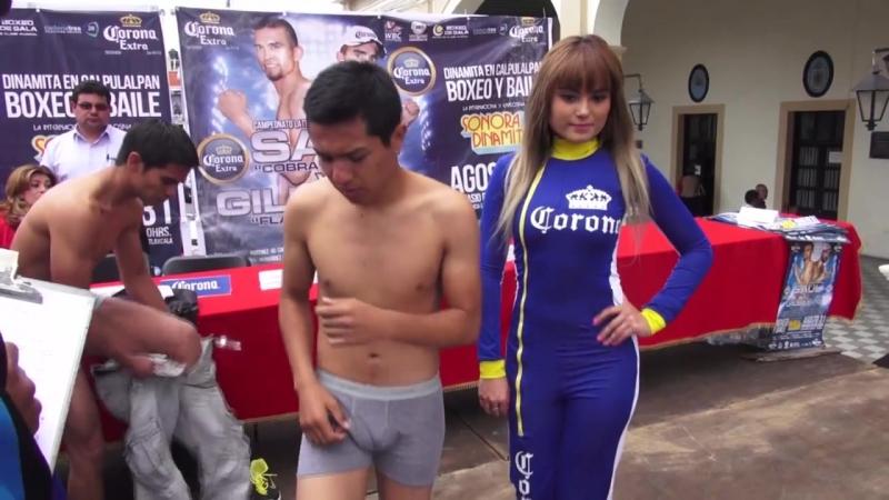 Dinamita en el ring en Calpulalpan, Pesaje. Boxeo de Gala.