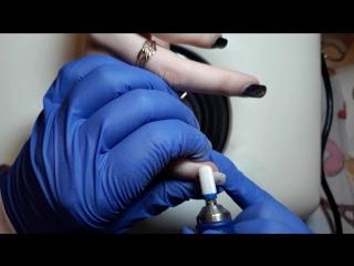 Снятие гель-лака аппаратом (фреза керамический бочонок)