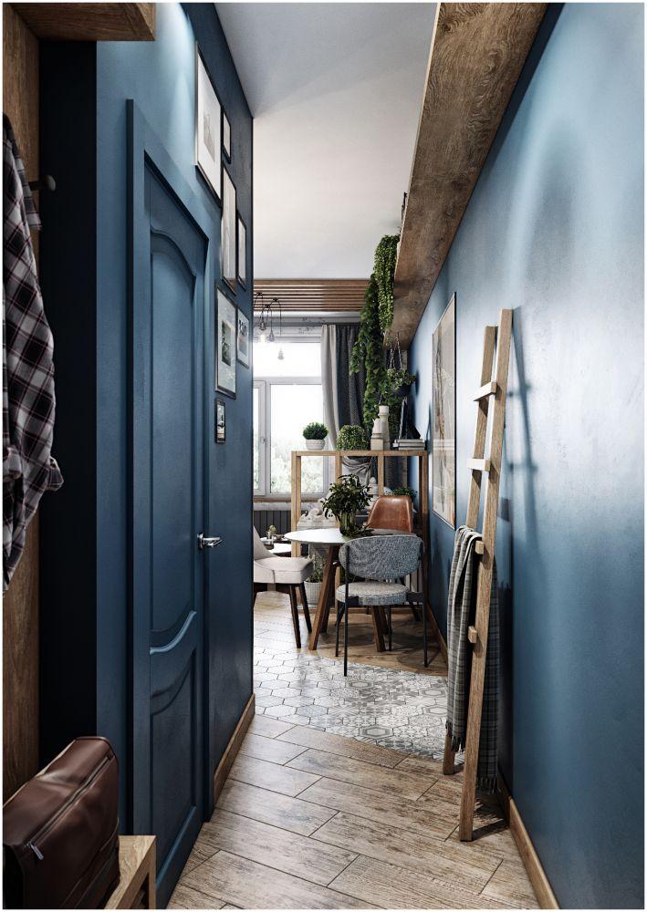 Проект студии 26 м в синем цвете.