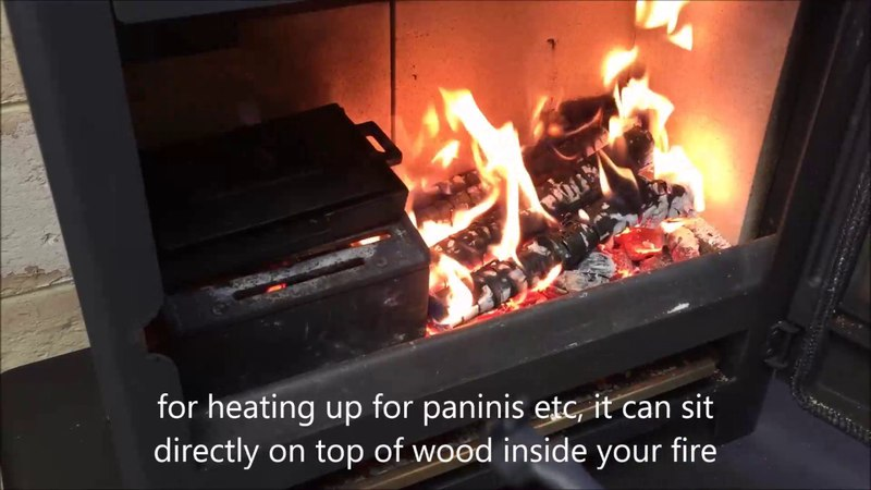 Cooking Burgers in a Wood Burning Stove Hellfire Panini Cooker and Bacon Press