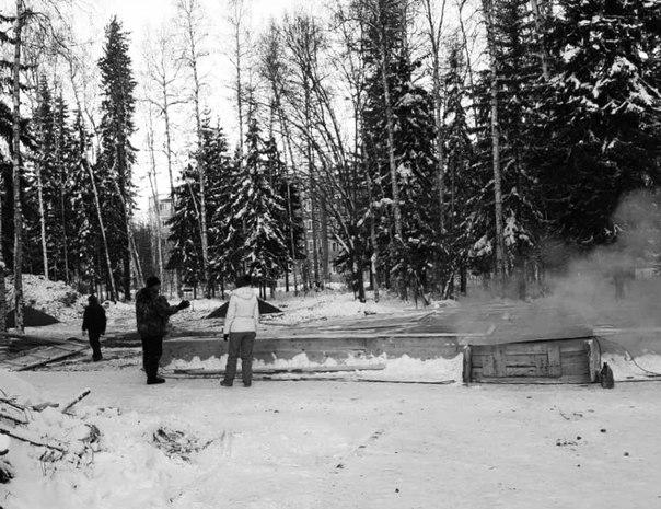 Работы на Аллее славы в «жгучий» сибирский мороз