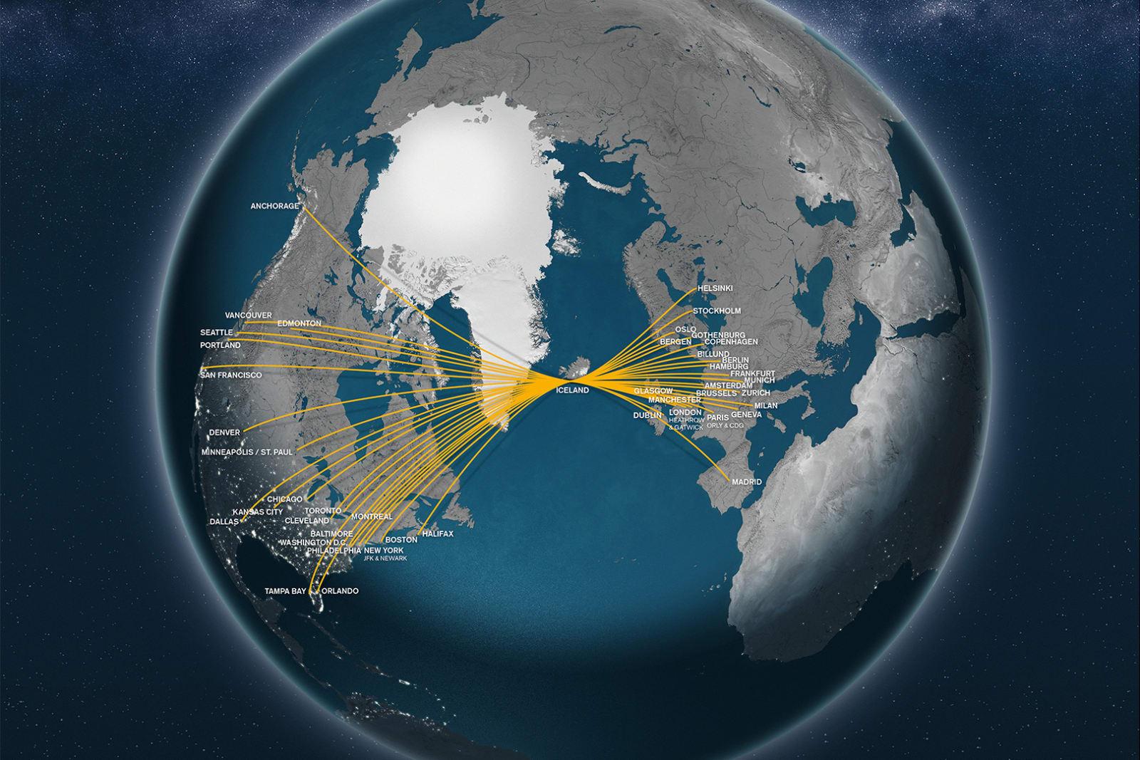 Маршрутная сеть авиакомпании Icelandair