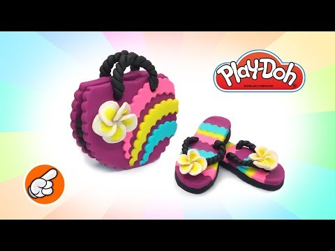 Play Doh Crafts for Dolls. Beach Flip Flops and Bag. Play Doh Videos Learn Colors. Easy DIY for Kids