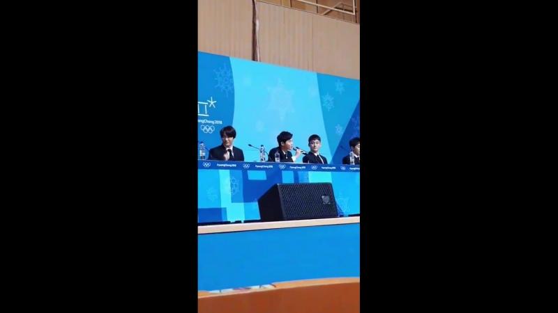 180221 Instagram Story yuraxmin EXO - ClosingCeremony Press Conference