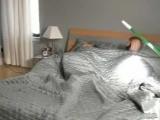 Братец немного подшутил над спящей сестрой...)