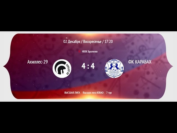 НМФЛ 2018 19 Высшая лига ЮВАО МФК Ахиллес 29 МФК Карабах 4 4