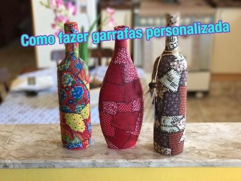 Como fazer uma garrafa personalizada com retalhos