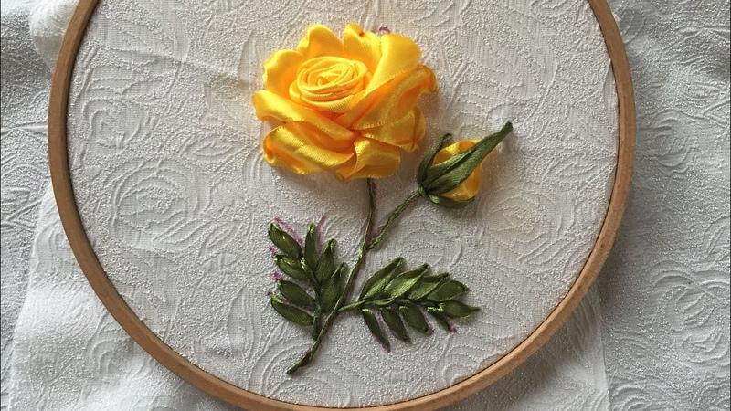 D.I.Y Yellow Ribbon Embroidery Rose Hướng dẫn thêu ruy băng cành hồng đơn giản