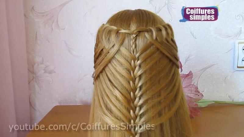 Coiffure avec tresse 🌸 Belle coiffure facile à faire cheveux mi long - long 🌸 Coiffure pour fille