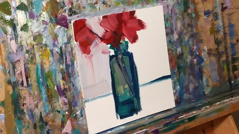 Easy Tutorial, Demo on How To Paint in Oils, Red Flowers, Glass Bottle Painting by JOSE TRUJILLO