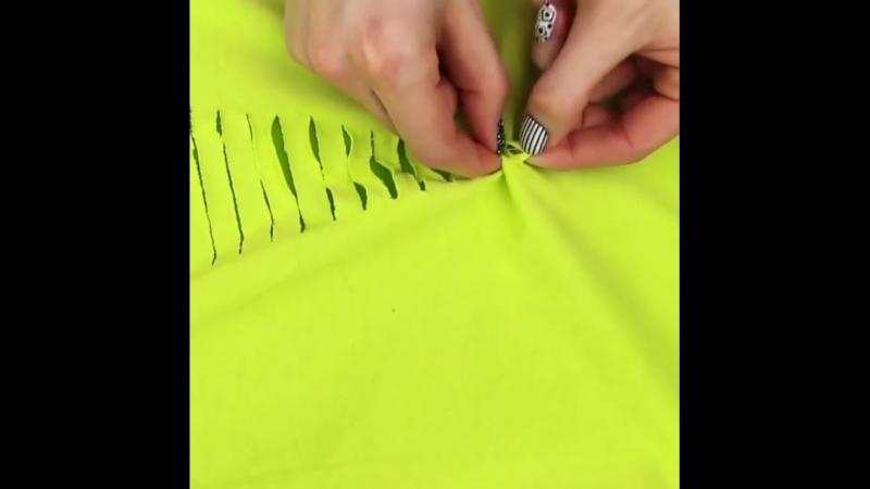 🙌🏻DO IT YOURSELF👌🏻 😍Сегодня мы превратим обычную футболку в стильную вещичку для жаркого ЛЕТА🌸 ❗Вам ПОТРЕБУЕТСЯ: ✔Футболка ✔Скот