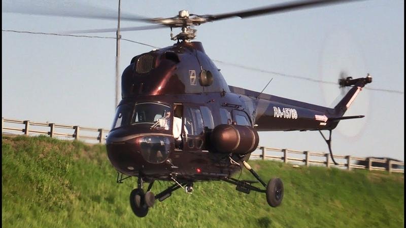 Модернизированный вертолет Ми 2 запуск и взлет Helirussia 2018