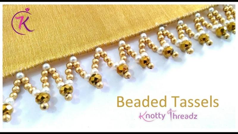 New Saree Kuchu Design Beaded Tassels Crystal and Pearls Design 6 10