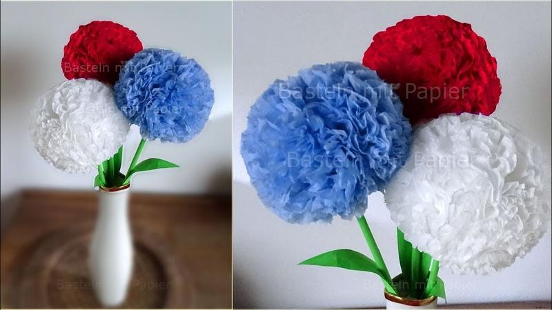 Runde Blumen basteln mit Papier-Servietten 💐 Deko mit Pompoms selber machen. DIY Geschenkideen
