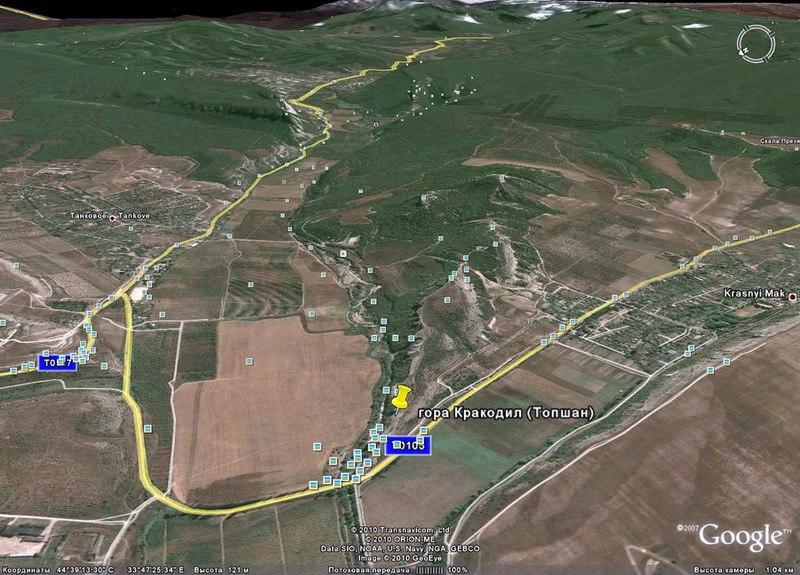 Карта. Бельбекская долина (Танковое - Куйбышево) и Каралезская долина (Красный Мак - Мангуп). Главная видовая точка гора Крокодил, на самом деле Арман-кая ))