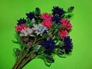 Васильки из бисера Часть 6 7 Полевые цветы из бисера Flowers of cornflower from beads