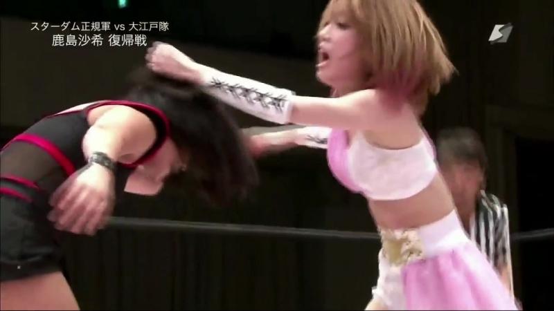 Kagetsu Hana Kimura Natsu Sumire vs Mayu Iwatani Saki Kashima Tam Nakano STARDOM Dream Slam 2018 in Tokyo