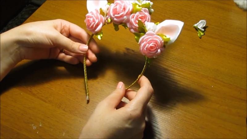 DIY Ободок единорога с розами и жемчугом⁄ Tiara of unicorn with roses and perls