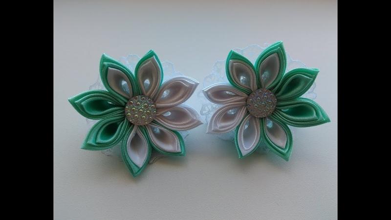 Красивые двухцветные бантики МК Канзаши / Beautiful two-color bows Baby MK Kanzashi